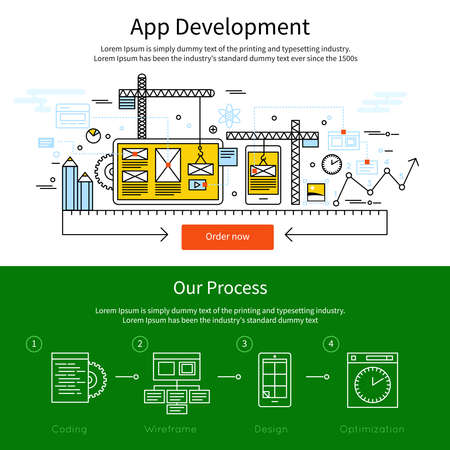 Illustration for Two horizontal mobile line banner set with descriptions of app development and our process vector illustration - Royalty Free Image