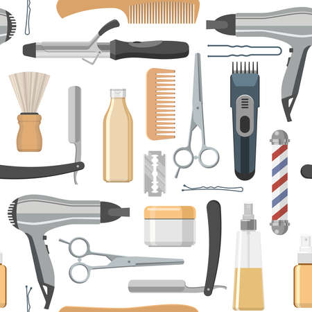 Illustration for Beauty salon seamless pattern with working tools and professional cosmetics on white background vector illustration - Royalty Free Image