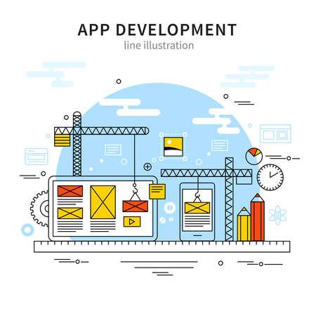 Illustration pour Mobile illustration line poster with building program and design development in a linear style vector illustration - image libre de droit