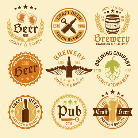 Illustration pour Colored beer emblem set with types of beer and production with premium quality vector illustration - image libre de droit
