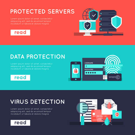 Illustration pour Data protection horizontal banners set with secure servers information safety virus detection isolated vector illustration - image libre de droit