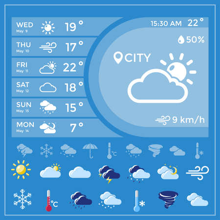 Illustration for Weather forecast application with temperature for the whole week and icon set at the bottom vector illustration - Royalty Free Image