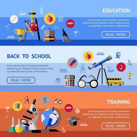 Photo pour Three horizontal school banner set with headlines education back to school and training vector illustration - image libre de droit