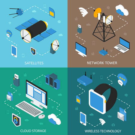 Illustration pour Wireless technology isometric concept with communication satellites network towers cloud storage digital devices isolated vector illustration - image libre de droit
