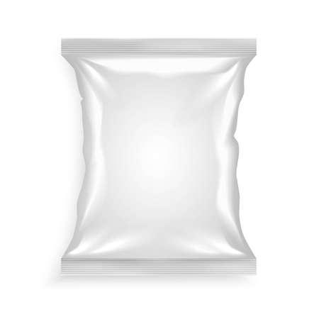 Illustration pour White plastic bag for chips snacks crisps peanuts another food for designers vector illustration - image libre de droit