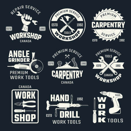 Illustration pour Work tools monochrome emblems with typographic letterings and carpentry instruments on black background isolated vector illustration - image libre de droit