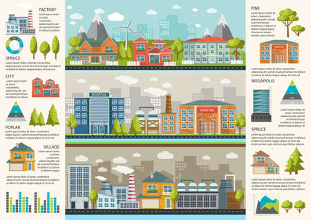 Illustration for Urbanity infographics template with environmental infrastructure in megapolis factories and residential houses charts and statistics vector illustration - Royalty Free Image
