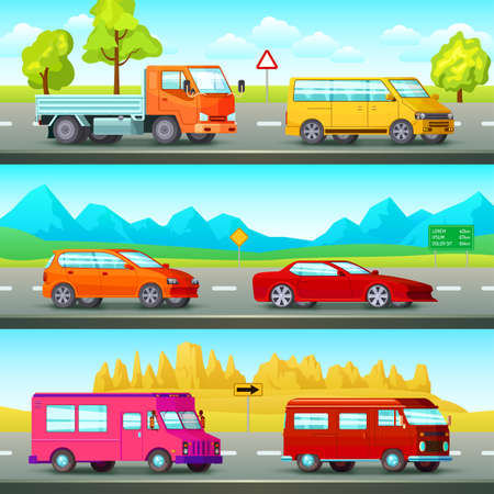Photo pour Three horizontal city banners set with orthogonal cartoon images of suburban road scenery and passenger vehicles vector illustration - image libre de droit