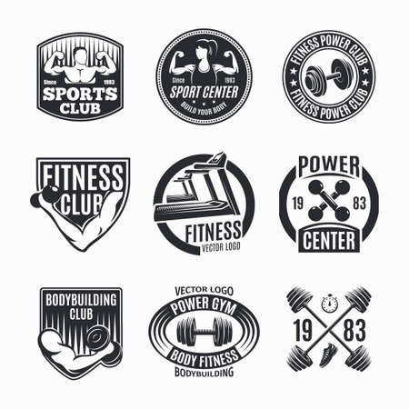 Illustration for Nine isolated monochrome power fitness set with wealth muscles and barbell symbols with decorative captions vector illustration - Royalty Free Image