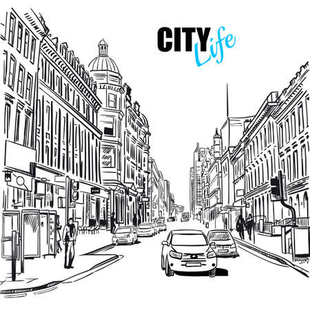 Illustration pour Black and white sketch city street with street view cars and buildings vector illustration - image libre de droit