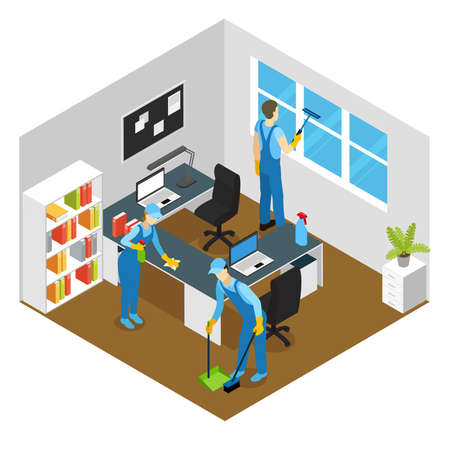 Illustration pour Office cleaning isometric composition with washing of working tables and window sweeping of floor vector illustration - image libre de droit