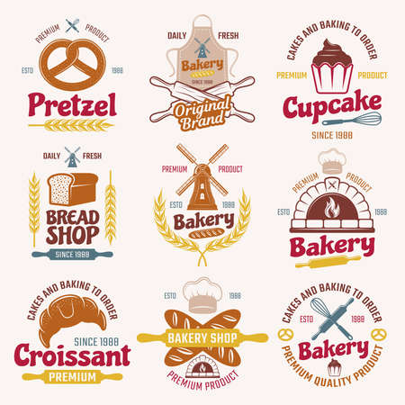 Illustration pour Flour products retro style emblems with typographic letterings mill bread and pastry chefs tools isolated vector illustration - image libre de droit