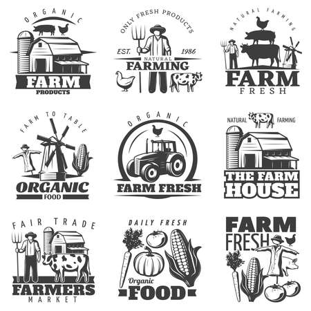 Illustration pour Monochrome isolated emblems set with farming house and organic food symbols vegetables on blank background vector illustration - image libre de droit