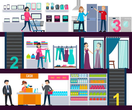 Illustration for Shopping center infographic template with people in grocery clothing and hardware stores vector illustration - Royalty Free Image