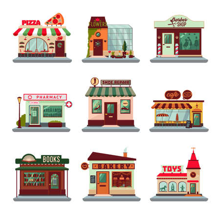 Illustration for Colorful city buildings set with facades of stores shops restaurants and cafes isolated vector illustration - Royalty Free Image