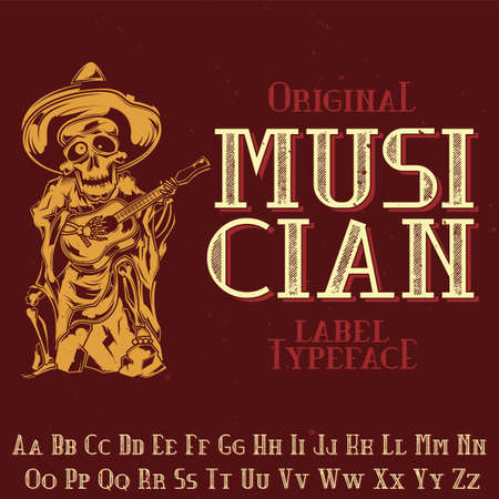 Photo pour Original label typeface named 'Musician'. Good to use in any label design. - image libre de droit