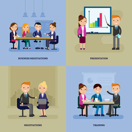 Illustration for Business negotiation flat template with people at meeting brainstorming conference and training vector illustration - Royalty Free Image