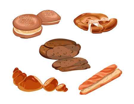 Illustration pour Colorful sliced fresh baking products collection with baguette croissant rye and danish bread isolated vector illustration - image libre de droit