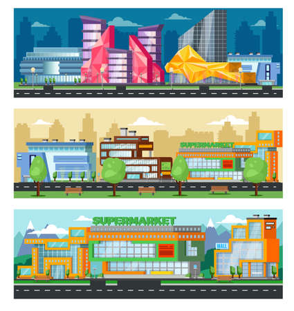 Illustration for Shopping mall horizontal banners with cityscape of trade centers stores and supermarkets vector illustration - Royalty Free Image