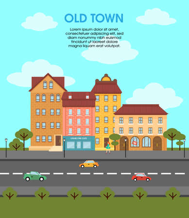 Illustration for Colorful flat urban landscape template with different buildings cars on road trees and walking woman vector illustration - Royalty Free Image