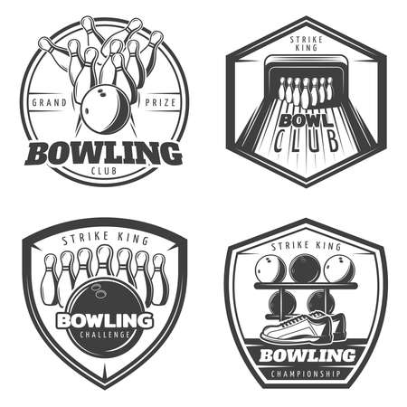 Illustration for Vintage monochrome active recreation emblems set for bowling club with sport equipment isolated vector illustration - Royalty Free Image