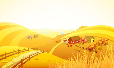 Illustration pour Autumn farm landscape composition with orange field trees houses wheat and river vector illustration - image libre de droit
