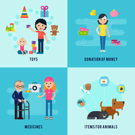 Illustration pour Charity flat concept with support and help to children old people and animals vector illustration - image libre de droit