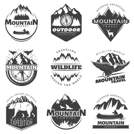 Illustration pour Vintage mountains logos set for camping tourism on white background isolated vector illustration - image libre de droit