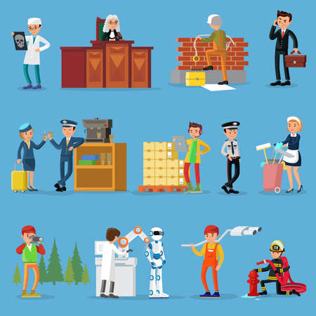 Illustration for People professions set with doctor judge builder businessman pilot stewardess warehouse worker policeman maid photographer scientist mechanic firefighter isolated vector illustration - Royalty Free Image