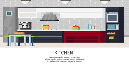 Illustration pour Kitchen interior design composition with sink counter fridge table chair extractor stove and different utensils vector illustration - image libre de droit