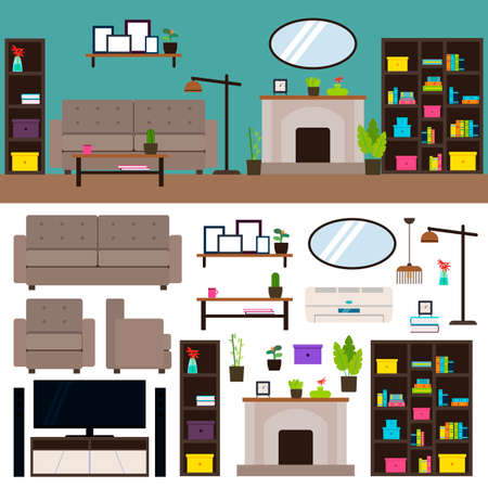 Illustration pour Living room interior elements collection with furniture plants mirror closet cupboard lamps tv fireplace air conditioning isolated vector illustration - image libre de droit