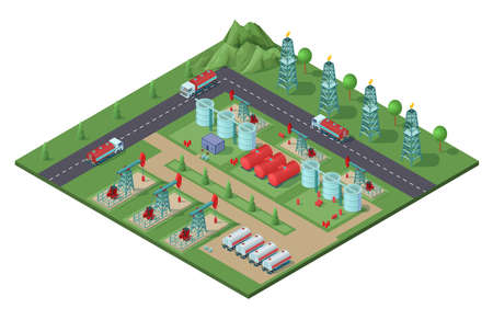 Illustration for Isometric industrial oil field plant concept with drilling rigs trucks tanks of petroleum electric towers vector illustration - Royalty Free Image