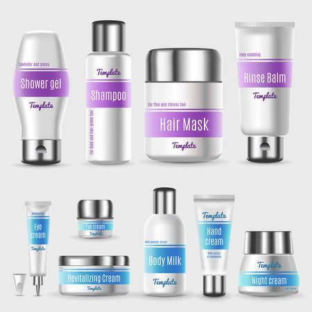 Illustration pour Realistic professional cosmetic packaging set with tubes bottles and containers for skin treatment products isolated vector illustration - image libre de droit