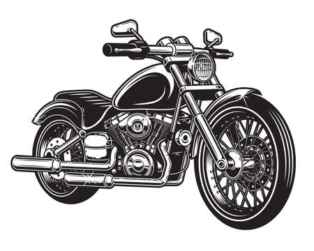 Illustration pour Vector illustration of motorcycle isolated on white background. Monochrome style. - image libre de droit