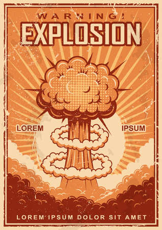Illustration for Vintage explosion poster on a grunge background. - Royalty Free Image