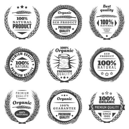 Photo pour Vintage premium cereal products labels set with letterings wheat ears natural wreathes in monochrome style isolated vector illustration - image libre de droit