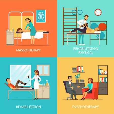 Illustration for People rehabilitation square concept with massage manual therapy orthopedic exercises and physiotherapy vector illustration - Royalty Free Image