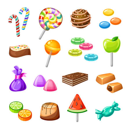 Illustration pour Isolated color candy icon set with sweets baking candy lollipops on white background vector illustration - image libre de droit
