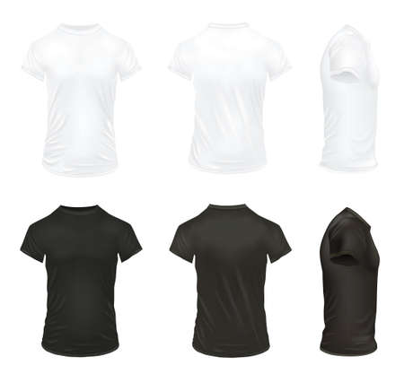 Illustration pour Black and white realistic t shirt icon set for men and with realistic folds vector illustration - image libre de droit