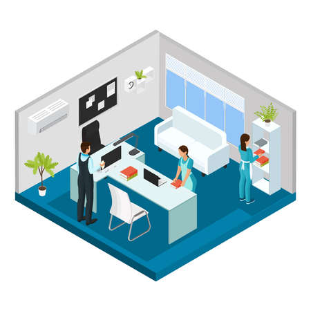 Illustration for Isometric professional cleaning service concept with cleaners wearing uniform working in office isolated vector illustration - Royalty Free Image