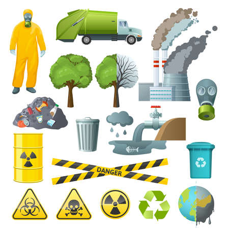Illustration pour Set of isolated cartoon style decorative icons with radioactive chemical pollution infographic signs and environmental symbols vector illustration - image libre de droit