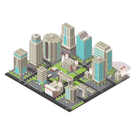 Illustration for City isometric concept with office and industrial buildings truck parking environmental and road infrastructure vector illustration - Royalty Free Image