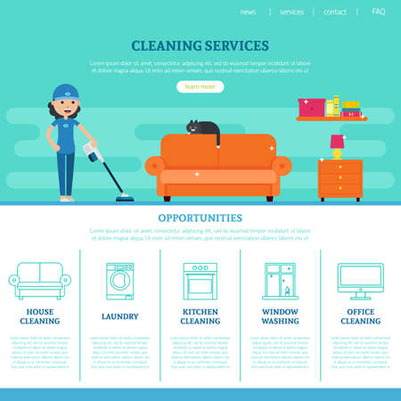 Illustration for Cleaning company web page template with different services in flat style vector illustration - Royalty Free Image