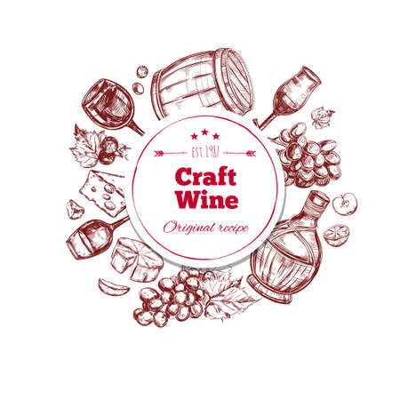 Illustration pour Red wine craft production concept with ingredients barrel bottle and glass in hand drawn style isolated vector illustration - image libre de droit