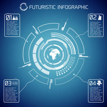 Illustration for Virtual futuristic infographic template with user interface globe text and icons on blue background vector illustration - Royalty Free Image