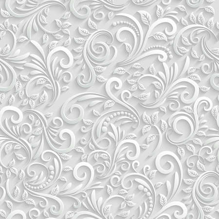 Illustration for Vector Floral 3d Seamless Pattern Background. For Christmas and Invitation cards decoration - Royalty Free Image