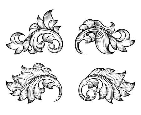 Illustration pour Vintage baroque scroll leaf set in engraving style element, ornate decoration, filigree floral. Vector illustration - image libre de droit