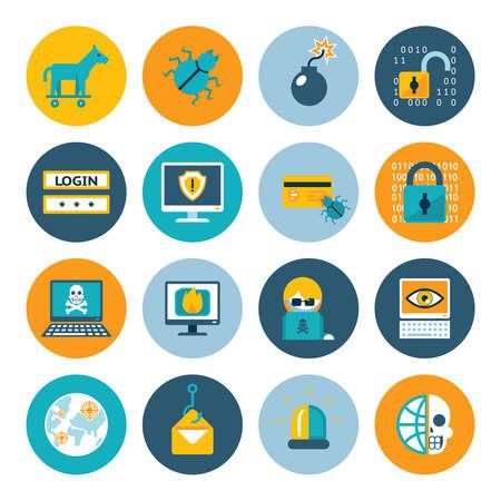 Illustration pour Hacker flat icons. Badges in colorful circles on a white background. Vector illustration - image libre de droit