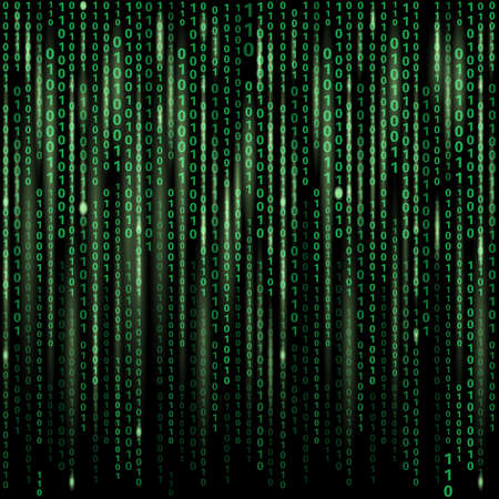 Illustration pour Stream of binary code on screen. Abstract vector background. Data and technology, decryption and encryption, computer matrix illustration - image libre de droit
