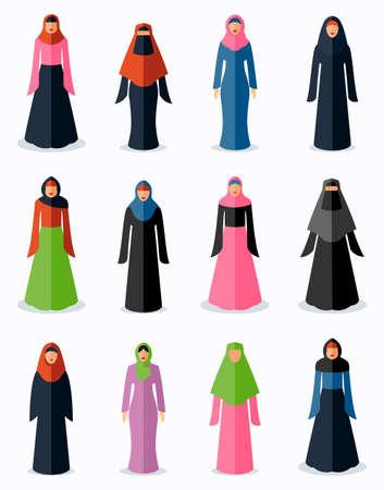 Illustration pour Muslim woman flat icons. Female traditional culture, arabic islam religion, vector illustration - image libre de droit